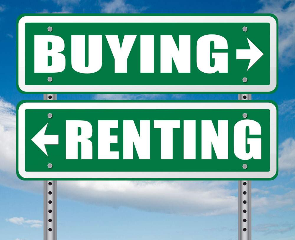 carteles que indican contratar renting o comprar un coche